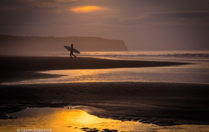 Sunset And A Whitby Surfer