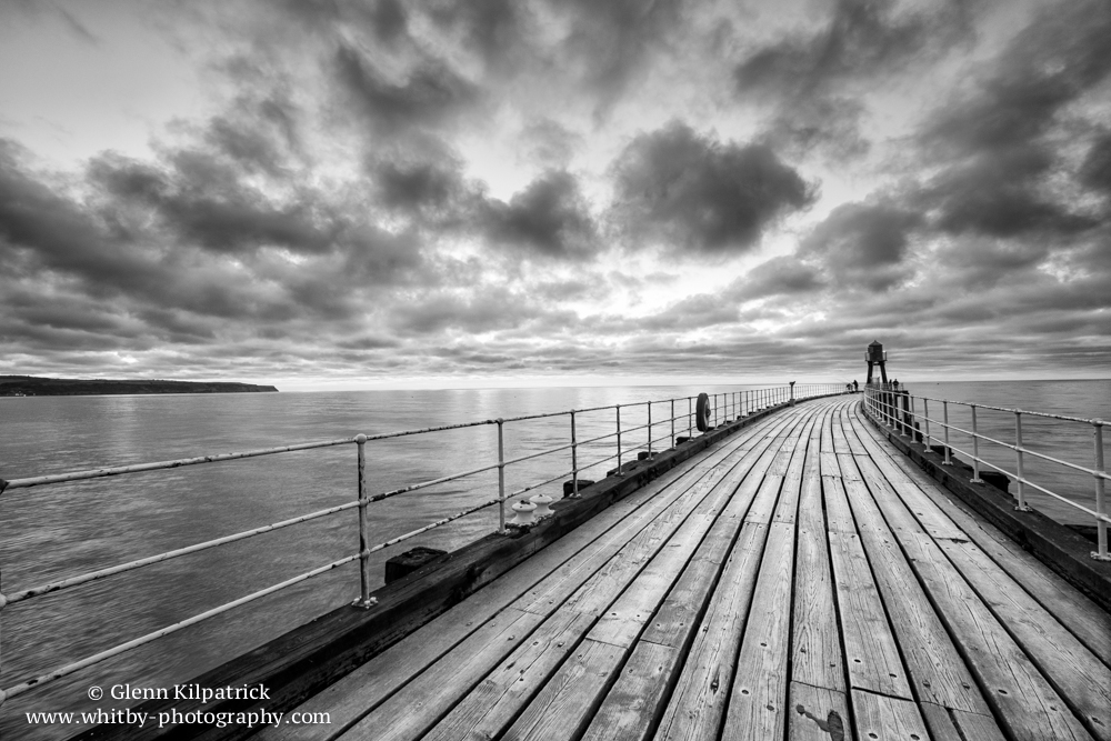 Whitby West Pier In Black And White 2015