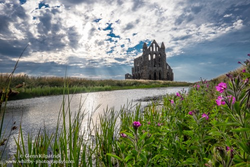 Whitby Abbey With The Suns Rays