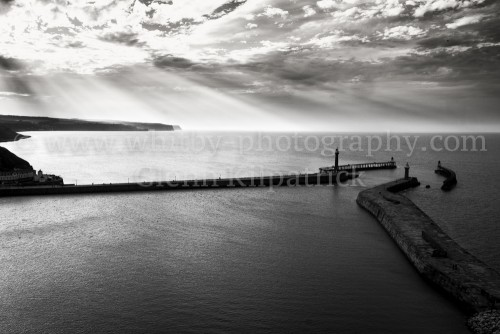 Whitby Piers Black And White (1 of 1)