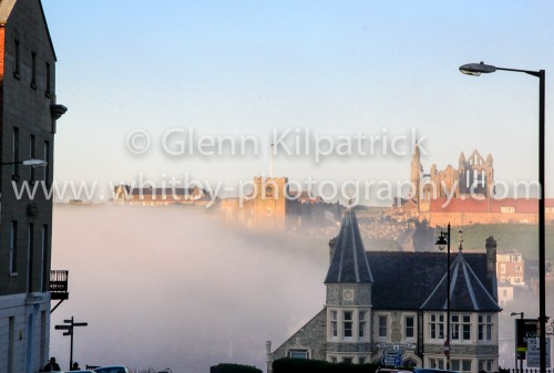 Whitby In The Fog. St Marys And The Abbey Sticking Out