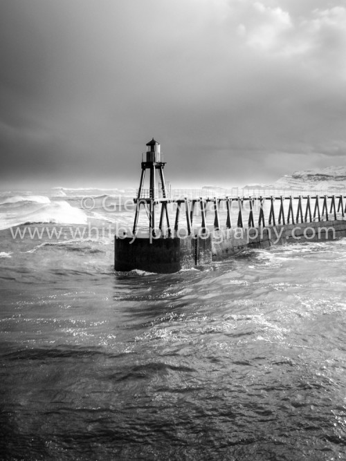 Whitby East Pier In The Snow