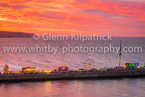 Whitby Regatta Sunset With Fair On West Pier