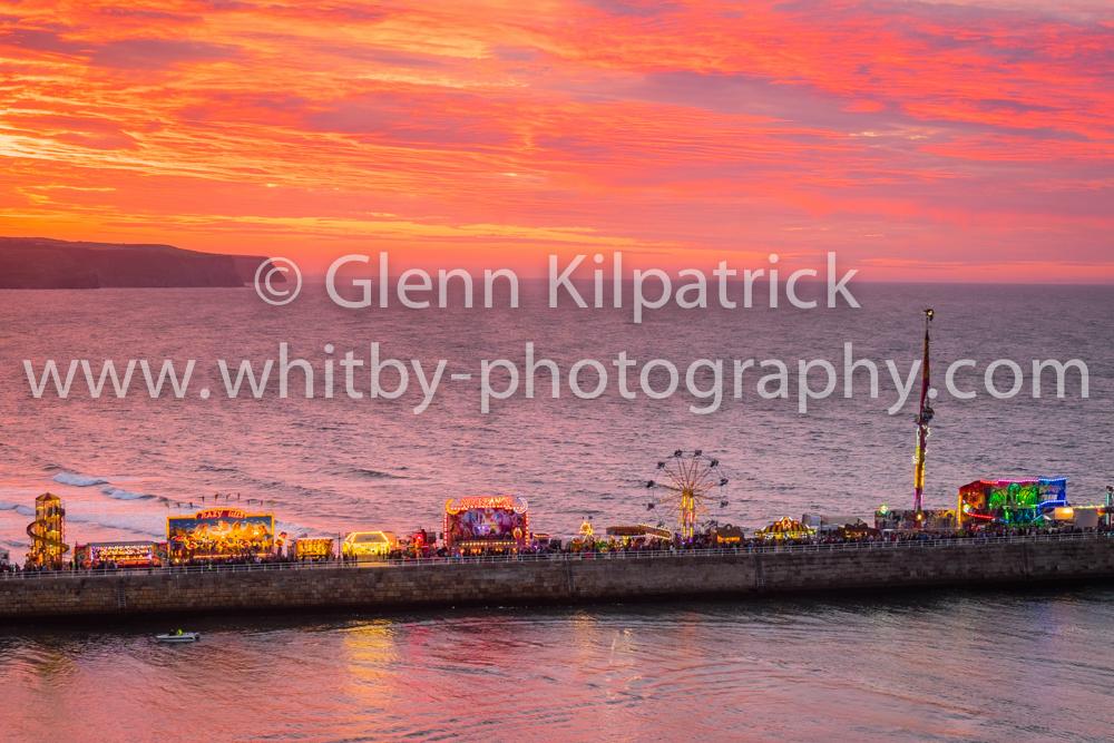 Whitby Regatta Sunset With Fair On West Pier