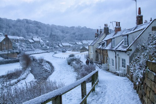 Snow At Sandsend Valley Near Whitby.