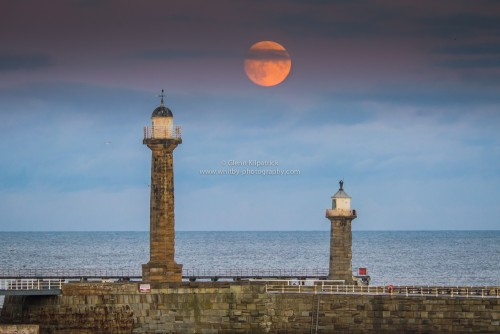 Moonrise Over Whitby Lighthouses