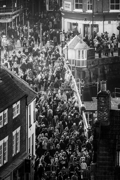Crowds On Whitby Swing Bridge - Goth Weekend 2015