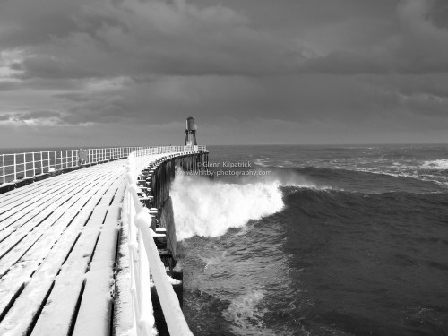 Whitby West Pier With December Snow On The Decks