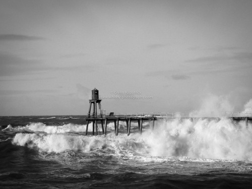 Huge Waves Crash Through The Underdeck Of Whitby East Pier
