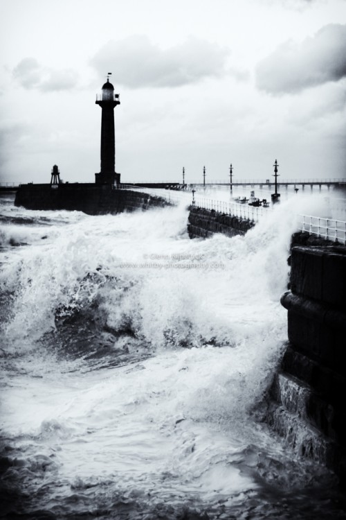 Whitby West Pier During The Storm Surge Of 2013