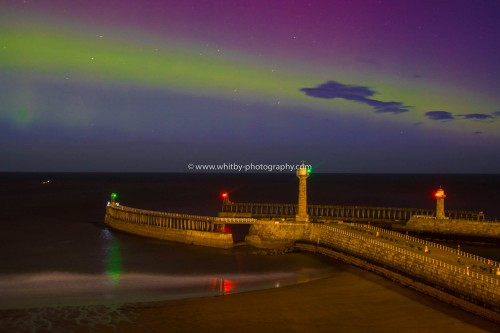 The Northern Lights Over Whitby Piers
