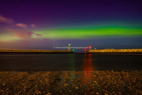 The Northern Lights At Whitby From Tate Hill Pier.