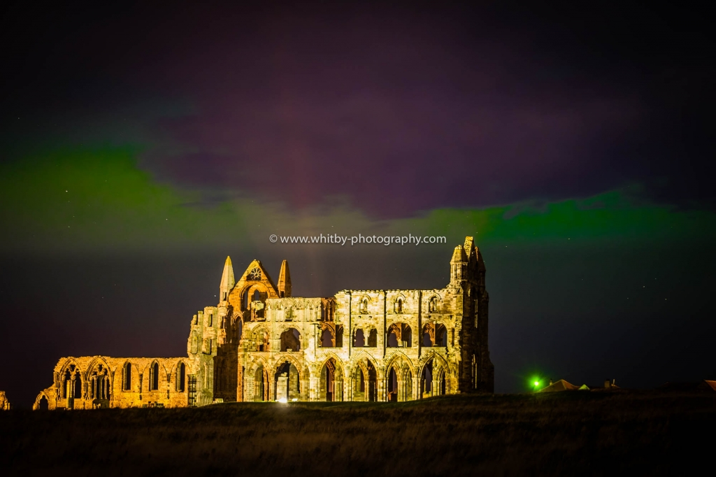 Whitby Abbey With Northern Lights Above