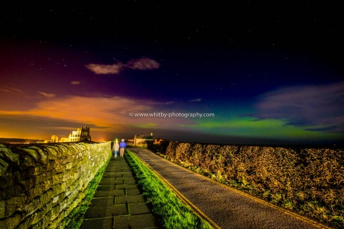 Abbey Lane At Whitby With The Northern Lights Above.