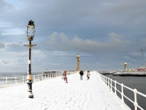 Heavy Winter Snows Cover Whitby's West Pier.