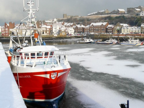 Whitby Trawler On The Frozen River Esk.