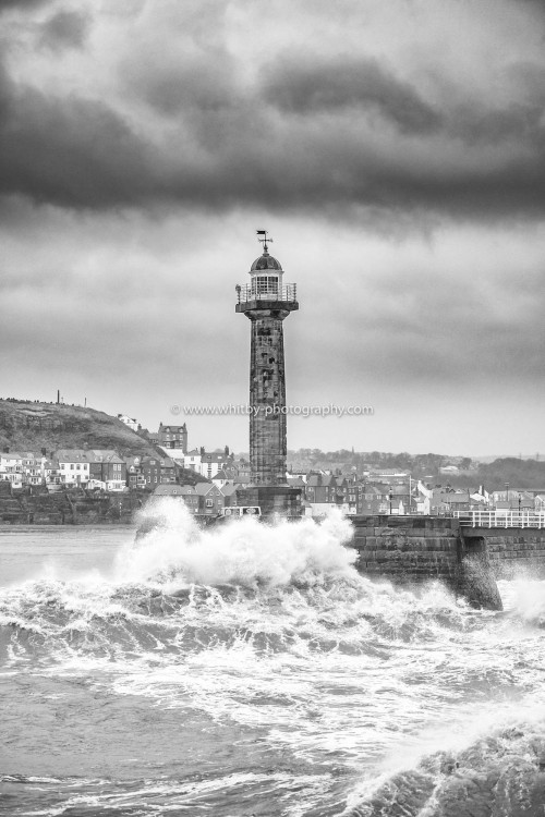 Waves Hitting The Bull Noses At Whitby Piers - Black And White.