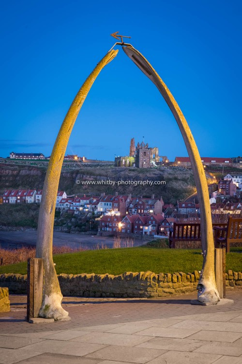 Whitby Whale Bones Over Looking Sandside And Whitby Harbour