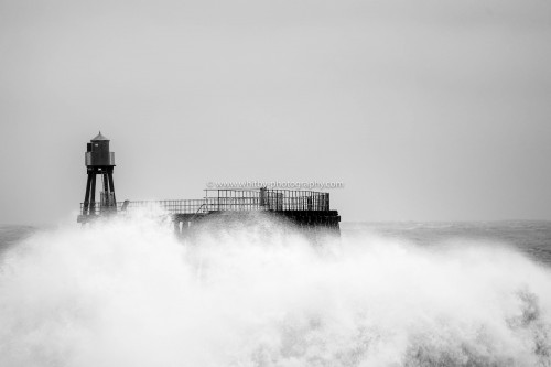 Rough Seas At Whitby Piers.