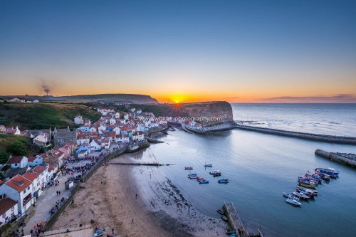 Staithes Sunset - The Sun Is Setting Over Cowbar Nab.