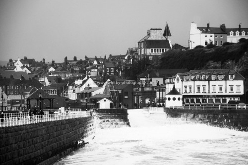 A High Contrast Shot Of The Sea Foam At Whitby Piers