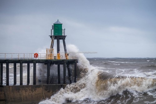 A 16ft Northerly Wave Hits Whitby's West Pier Square On the Nose.