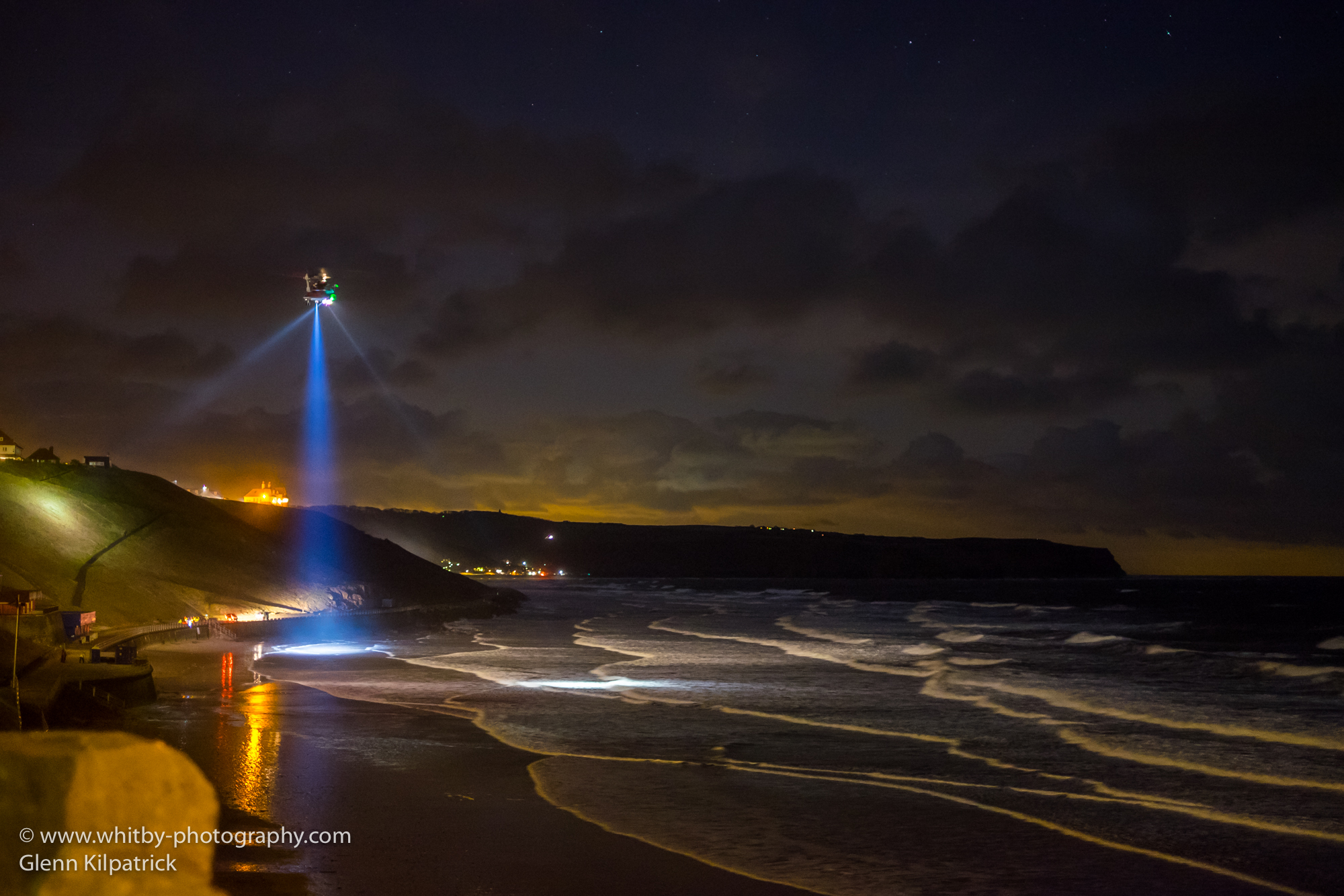 Humberside Search And Rescue Helicopter At Whitby Beach Feb 15th 2016