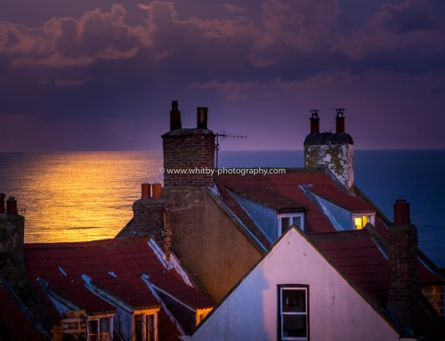 Whitby Photographs – Full Moon And Rainbow Clouds