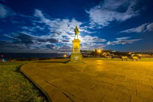 Captain Cook Monument At Whitby. This photograph was taken during the full moon of February 2016