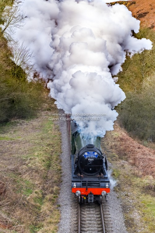 The Flying Scotsman On Its Final Journey Up The Line From Grosmont To Pickering. This Photograph Was Taken On The Bridge At Darnholm