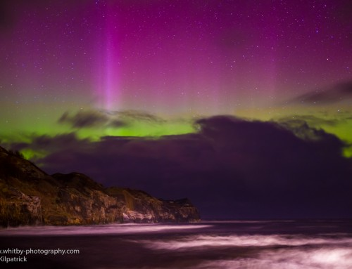 Light Painting With The Northern Lights At Whitby