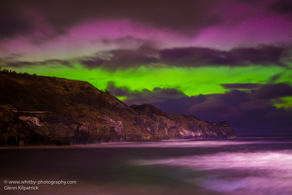 The Northern Lights At Sandsend Cliffs Near Whitby