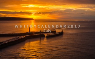 Whitby Calendar - Whitby Piers With A Sunset Into The North Sea