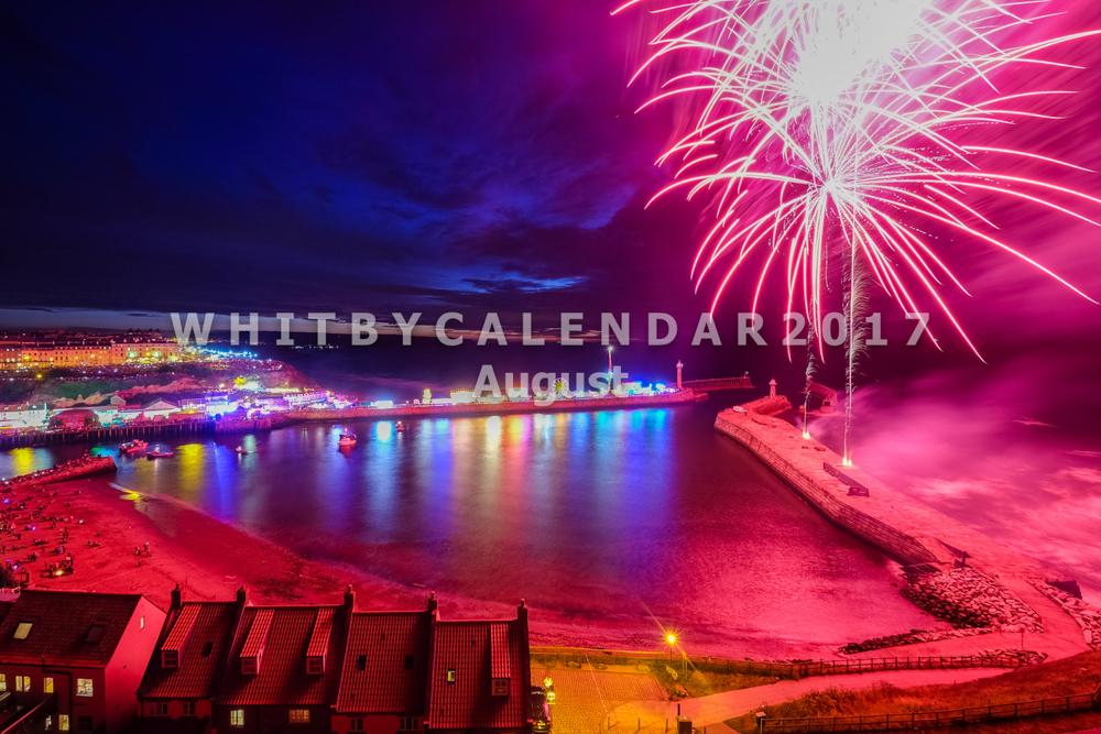 Whitby Calendar - Whitby Regatta Fireworks From The Abbey Headland