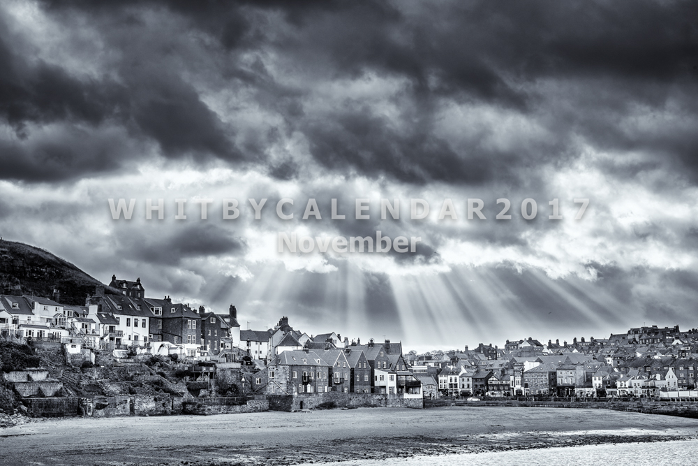 Whitby Calendar - Tate Hill And Sandside With The Suns Rays Shining Down