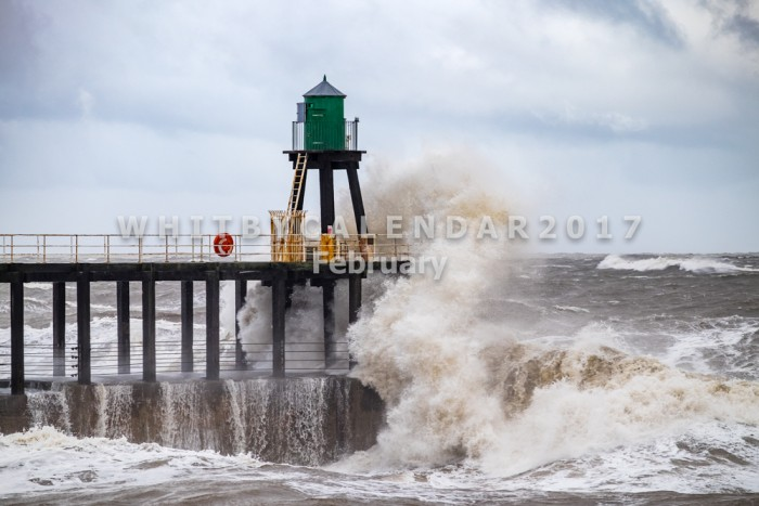 Whitby Calendar - Waves Hitting Whitby West Pier In A Winter Storm