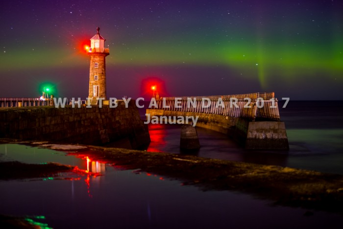 Whitby Calendar - Northern Lights At Whitby East Pier