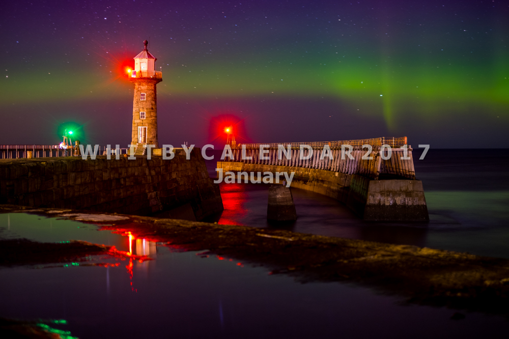 Whitby Calendar   Northern Lights At Whitby East Pier