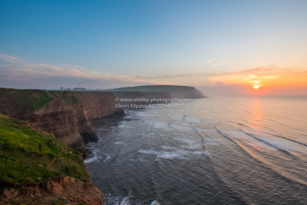 Boulby Cliffs In Yorkshire At Sunset.