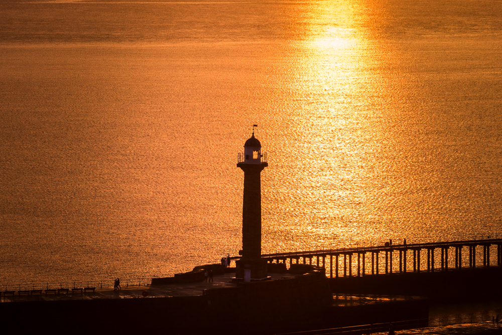 Sunset At Whitby West Pier Lighthouse