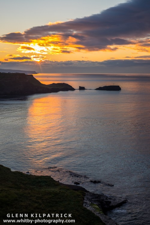 A Glorious Summer Sunset Over Saltwick Nab Near Whitby - North Yorkshire.