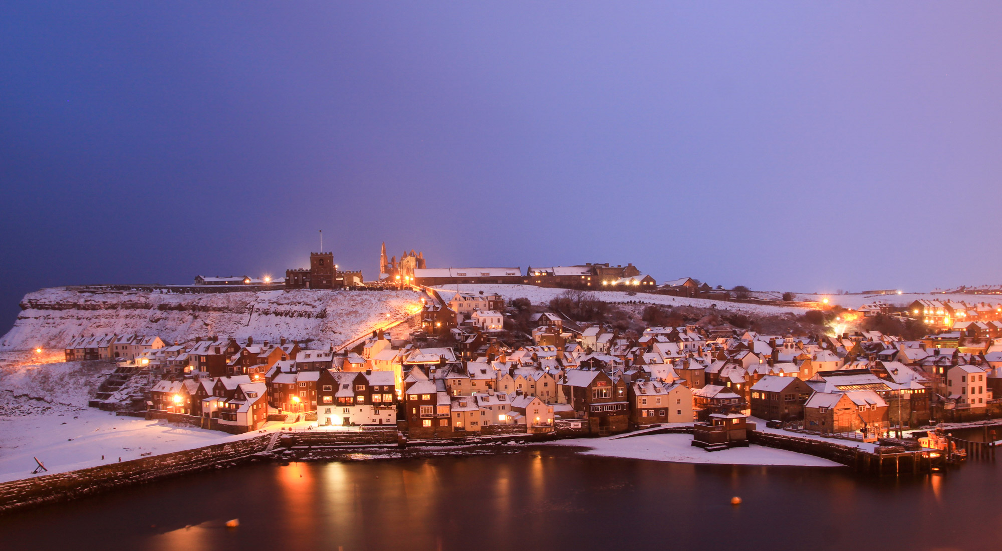 Whitby Harbour In The Snow. Whitby Christmas CArds
