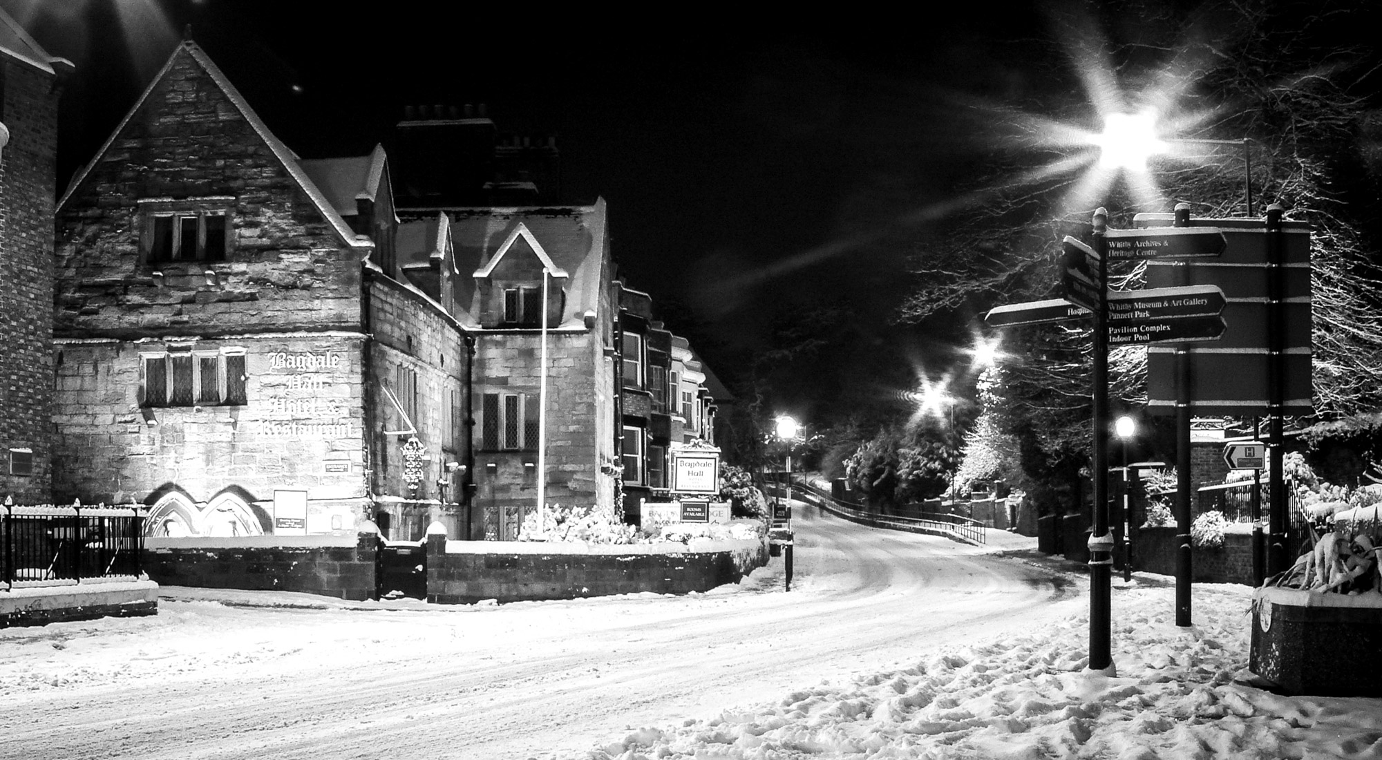 Whitby christmas card bagdale hall in the snow a5 for Old black and white photos for sale