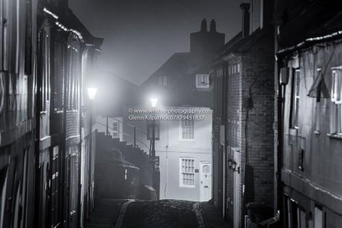 Henrietta Street In Whitby On A Foggy Night