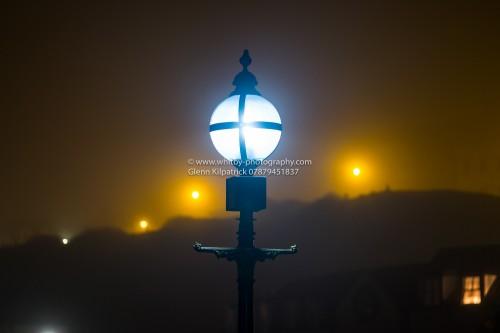 Whitby Pier Lights In The Fog