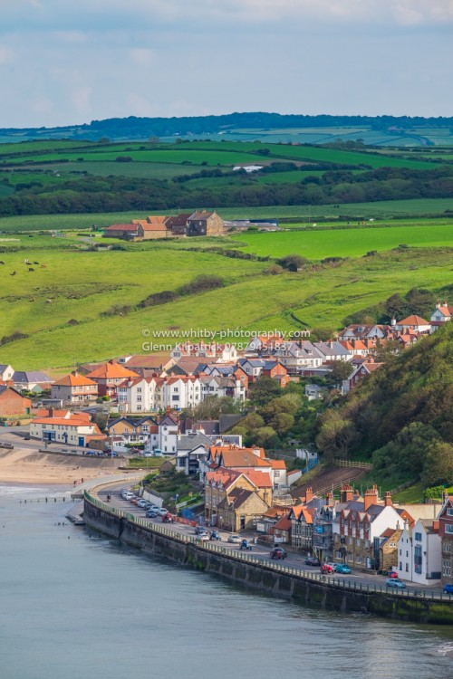 Sandsend Village In Portrait Taken From Sandsend Cliffs