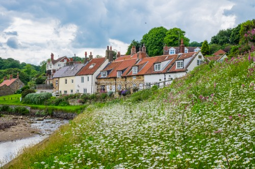 Sandsend Village With Summer Flowers