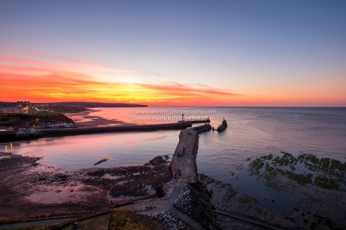 Whitby At Night - Wide Angle Whitby Sunset