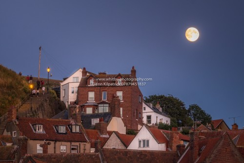 Whitby At Night - The 199 Steps With Full Moon