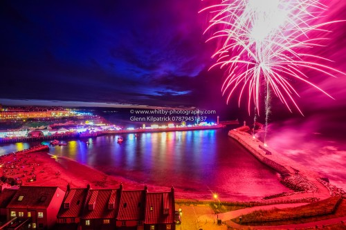 Whitby Regatta Firework Display. Taken From the Abbey headland Showing The Lower Harbour.